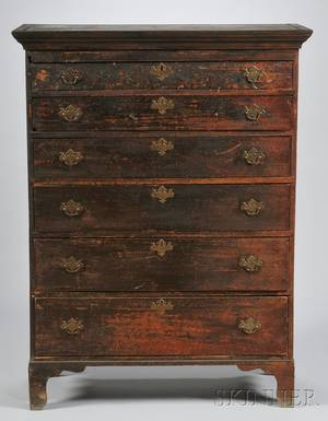 Blackpainted Sixdrawer Tall Chest