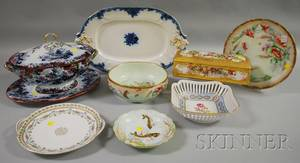 Eight Assorted Transfer and Handpainted Porcelain Table Items