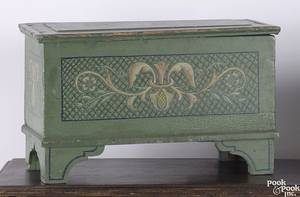 Pennsylvania painted pine miniature blanket chest early 19th c