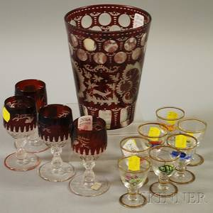 Large Bohemian Etched Ruby Flash Glass Tumbler and a Set of Four Cordials and a Set of Seven Enameled Fishdecorated Glass Cordials