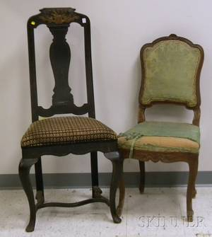 Queen Annestyle Upholstered Parcelgilt Ebonized Carved Wooden Side Chair and a Rococo Upholstered Carved Walnut Side Chair