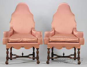 Pair of Queen Annestyle Upholstered Carved Walnut Armchairs