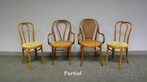 Set of Six Thonet Bentwood Side Chairs with Upholstered Seats Two Bentwood Armchairs and a Bentwood Side Chair