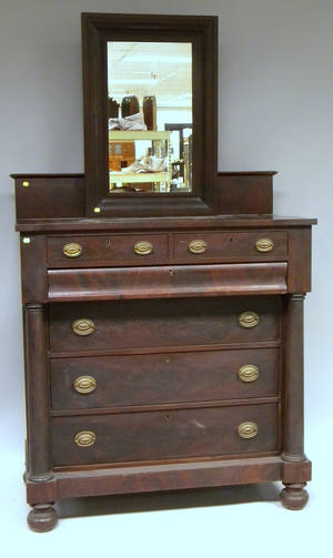 Late Empire Mahogany and Mahogany Veneer Bureau with Ogee Mirror