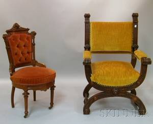 Victorian Renaissance Revival Upholstered Carved Walnut Parlor Chair and an Italian Renaissancestyle Upholstered Carved Walnut Savo