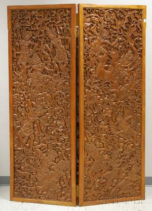 Balinese Carved Camphorwood Figuraldecorated Twopanel Floor Screen