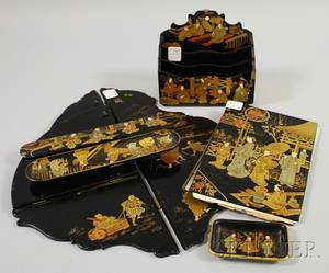 Five Japonesque Gilt and Enamel Decorated Black Lacquered Desk Items and a Folding Corner Wall Shelf
