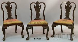 Set of Four Queen Annestyle Carved Mahogany Side Chairs with Upholstered Slip Seats