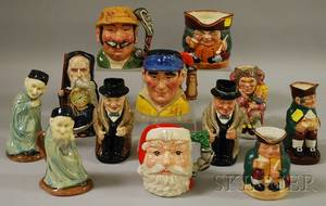 Twelve Assorted Royal Doulton Ceramic Character Jugs and Toby Jugs