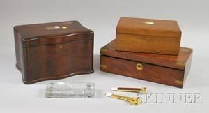 Five Cigar Smoking Related Items and a Brassmounted Rosewood Veneer Lap Desk