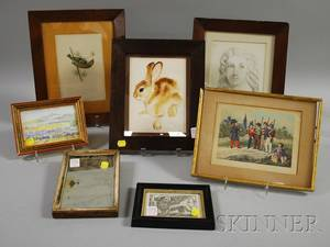 Six Small Framed Decorative Works and a Mirror