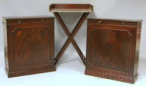 Pair of Diminutive English Mahogany and Fruitwood Butlers Side Cabinets and a Beverage Tray on Folding Stand