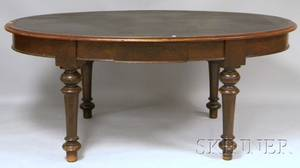 Large Victorian Oval Walnut Library Table