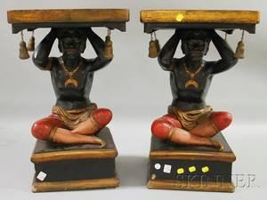 Pair of Painted Plaster Seated Blackamoor Figural Stands