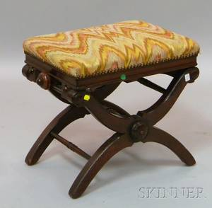 Victorian Renaissance Revival Upholstered Carved Walnut Adjustable Piano Stool