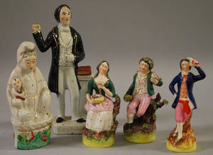 Four Assorted Staffordshire Ceramic Figures and a Chinese Export Porcelain Figure