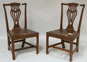 Pair of Colonial Revival Chippendalestyle Carved Mahogany Side Chairs