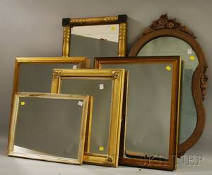 Six Assorted Small Mostly Giltwood Mirrors