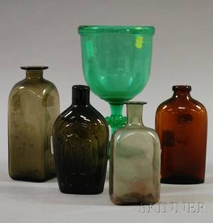 Four Colored Blown Molded Glass Flasks Bottles and a Green Blown Glass Goblet