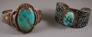 Two Native American Sterling Silver and Turquoise Cuff Bracelets