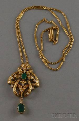 14kt Gold Emerald and Diamond Pendant