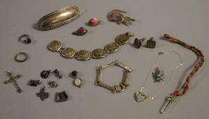 Small Group of Mostly Southwestern and Mexican Sterling Silver Jewelry