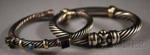 Two David Yurman Sterling Silver and 14kt Gold Ropetwist Bracelets