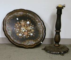 Victorian Gilt and Painted Floraldecorated Motherofpearl Inset Black Lacquered Papiermache Tilttop Stand