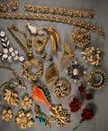Large Group of Trifari Costume Jewelry