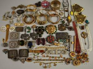 Group of Victorian and Art Deco Mostly Costume Jewelry