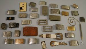 Large Group of Mostly Sterling Silver Buckles and Clips