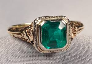 Art Deco 14kt Bicolor Gold and Emerald Ring