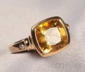 14kt Gold Citrine and Diamond Ring Manfredi