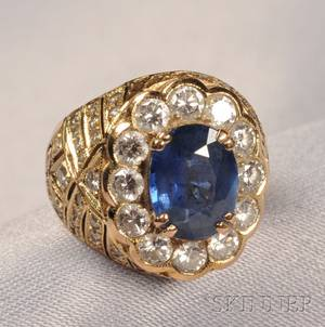 18kt Gold Sapphire and Diamond Ring