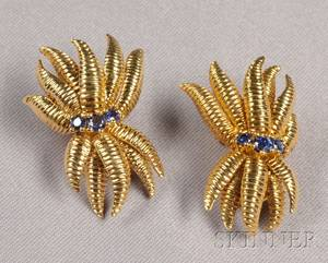 18kt Gold and Sapphire Earclips Tiffany  Co