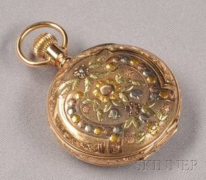 Antique 14kt Tricolor Gold Hunting Case Pocket Watch Elgin
