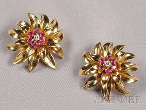 18kt Gold Ruby and Diamond Earclips Tiffany  Co