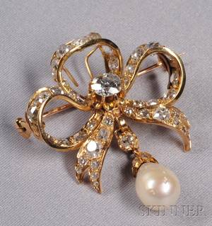 Antique 18kt Gold Natural Pearl and Diamond Bow PendantBrooch