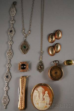Small Group of Mostly Gold Jewelry Items