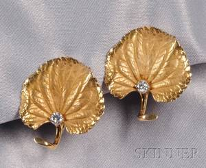 14kt Gold and Diamond Leaf Earclips