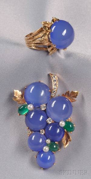 14kt Gold Chalcedony and Diamond Brooch and Ring