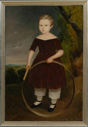 American School 19th Century Portrait of a Boy Wearing a Red Dress Playing with a Hoop