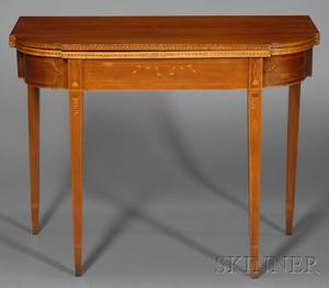 Federal Birch and Cherry Inlaid Card Table