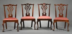 Set of Four Chippendale Carved Walnut Side Chairs