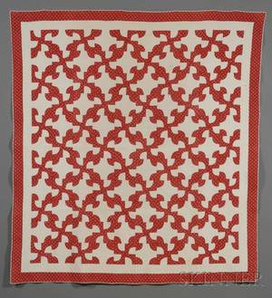 Pair of Red and White Pieced Cotton Drunkards Path Pattern Quilts