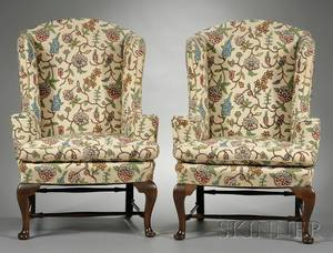 Pair of Queen Annestyle Carved Mahogany and Crewelupholstered Easy Chairs