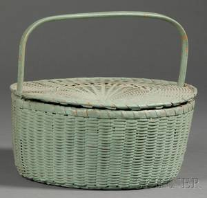 Greenpainted Round Covered Woven Splint Basket