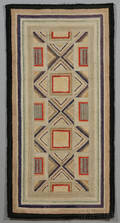 Wool and Cotton Geometric Hooked Rug