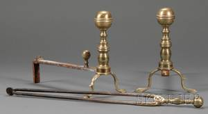 Pair of Brass and Iron Balltop Andirons with a Pair of Tongs