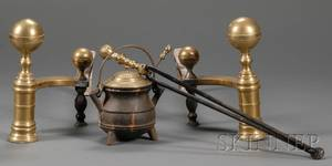 Pair of Brass and Iron Balltop Andirons Matching Tongs and a Cape Cod Lighter
